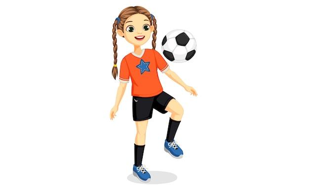Ilustracja dziewczyna młody piłkarz