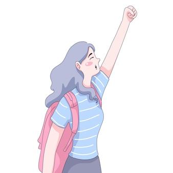 Ilustracja dziewczyna podróżnika