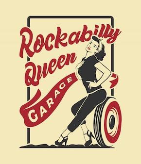 Ilustracja dziewczyna rockabilly