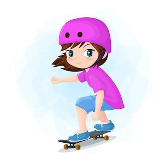Ilustracja dziewczyna skater