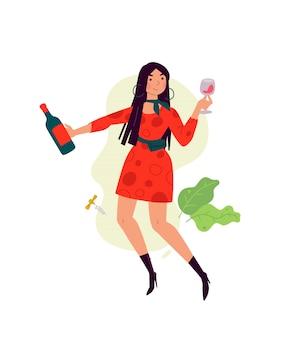 Ilustracja dziewczyna w sukni z lampką wina.