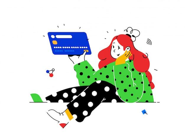 Ilustracja dziewczyna z kartą kredytową w abstrakcyjnym stylu. klient banku z kartą debetową.