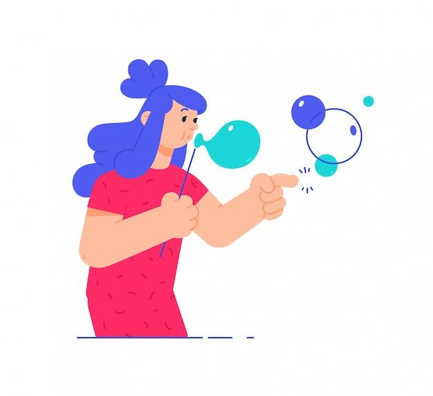 Ilustracja dziewczyna z mydlanymi bąblami.