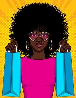 Ilustracja dziewczyna z pakietami, piękna młoda dziewczyna african american gospodarstwa torby na zakupy
