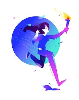 Ilustracja dziewczyna z pochodnią. biegnąca dziewczyna.
