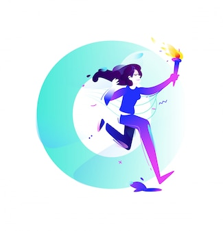 Ilustracja dziewczyna z pochodnią
