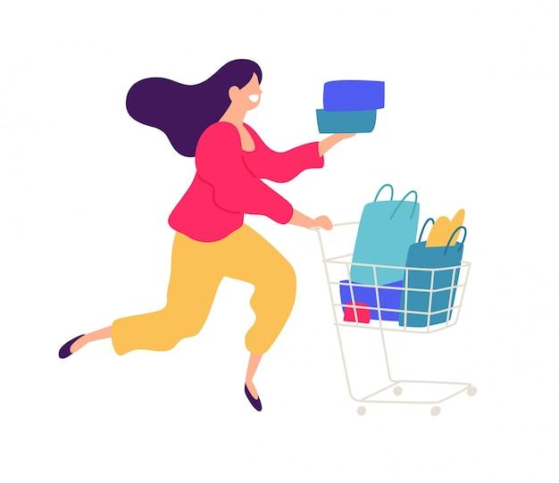 Ilustracja dziewczyna z zakupy.