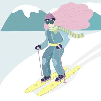 Ilustracją dziewczyny na nartach. kobieta narciarz schodzi ze wzgórza.