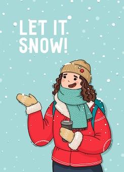 Ilustracja dziewczyny pod pierwszym śniegiem