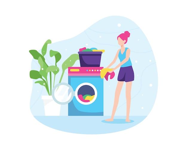 Ilustracja dziewczyny pranie