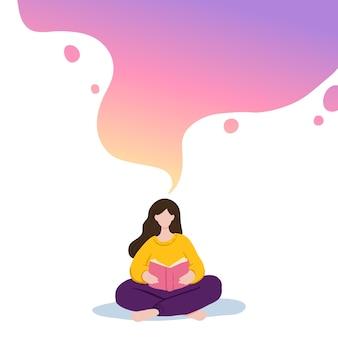 Ilustracja dziewczyny siedzącej i czytającej książkę, marzy.