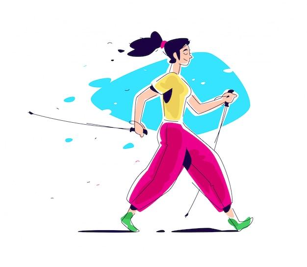 Ilustracja dziewczyny skandynawskiego spaceru.