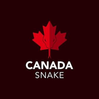 Ilustracja dziki wąż gadów na liściu klonu kanada symbol flaga projekt logo kraju