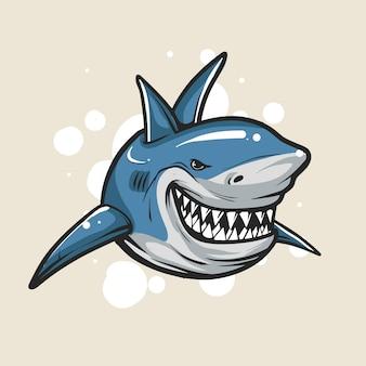 Ilustracja dzikich rekinów