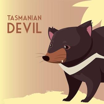 Ilustracja dzikich zwierząt australijskich zwierząt diabła tasmańskiego