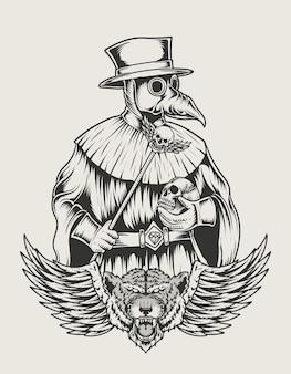 Ilustracja dżumy lekarz monochromatyczny styl
