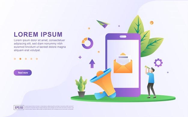 Ilustracja e-mail marketingu i reklamy online z ikonami smartfonów i megafonów