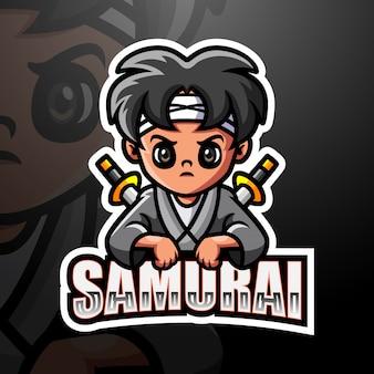 Ilustracja e-sport maskotka samurajów