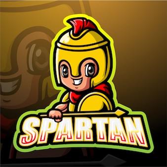 Ilustracja e-sportowa maskotka spartan