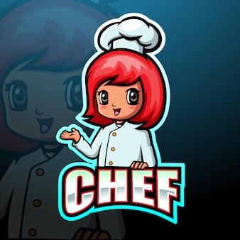 Ilustracja e-sportowa maskotka szefa kuchni
