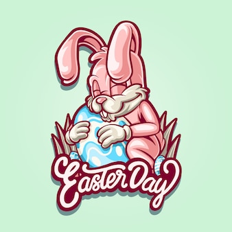 Ilustracja easter różowy królik dla easter dnia