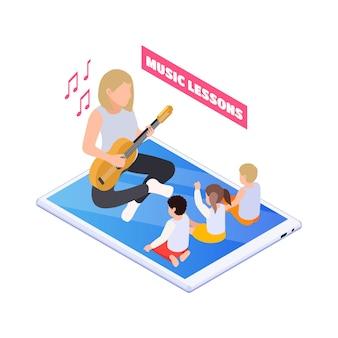 Ilustracja edukacji domowej z nauczycielem grającym na gitarze i dziećmi śpiewającymi na izometrycznej lekcji muzyki online