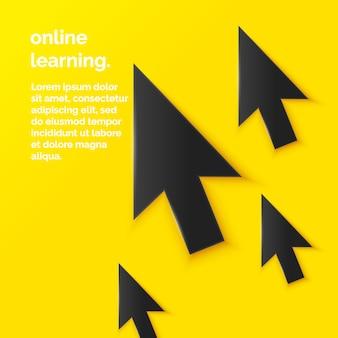 Ilustracja edukacji online w płaskim minimalistycznym stylu z kursorem