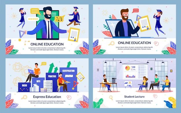 Ilustracja edukacji online w stylu płaski