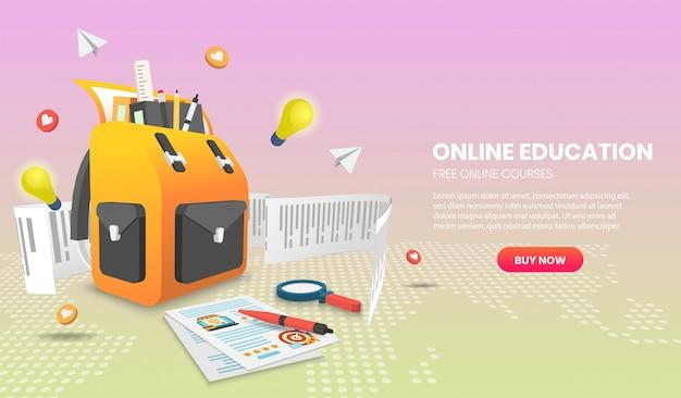Ilustracja edukacji online z plecakiem szkolnym application vector 3d.
