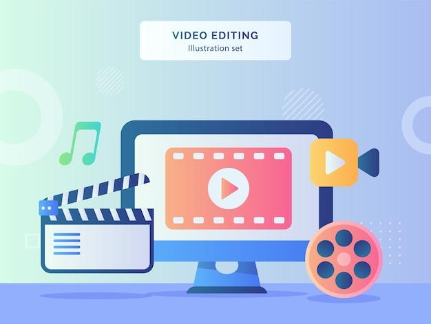 Ilustracja edycji wideo ustawia wideo na tle ekranu komputera z muzyką z taśmy filmowej z płaskiej konstrukcji