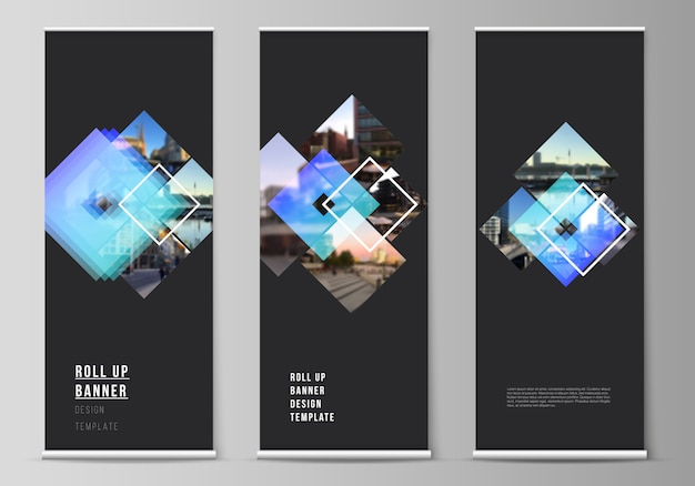 Ilustracja edytowalnego układu roll-up standów, pionowych ulotek, flag projektowania szablonów biznesowych. kreatywne makiety w modnym stylu, modne tła w kolorze niebieskim.