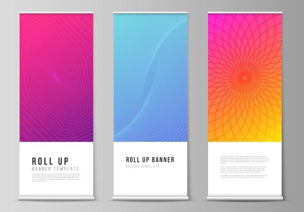 Ilustracja edytowalnego układu stojaków banerowych roll up, ulotek pionowych, szablonów biznesowych do projektowania flag. streszczenie geometryczny wzór z kolorowym gradientowym tłem biznesowym.