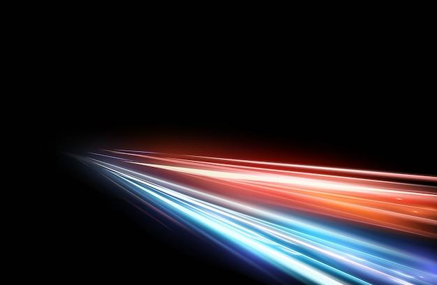 Ilustracja efekt świetlny wysokiej prędkości na czarnym tle. efekt filmowy, ruch, lampki nocne.