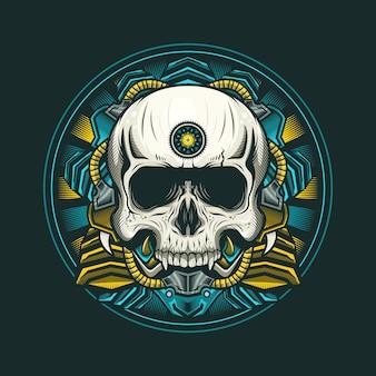 Ilustracja egiptu czaszki głowy cyborga szczegółowy projekt