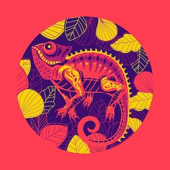 Ilustracja egzotyczna skóra kameleona wielokolorowe.
