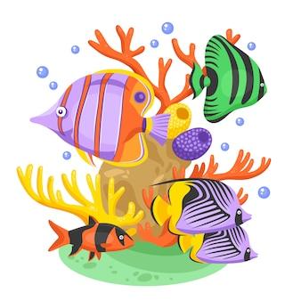 Ilustracja egzotycznych ryb tropikalnych