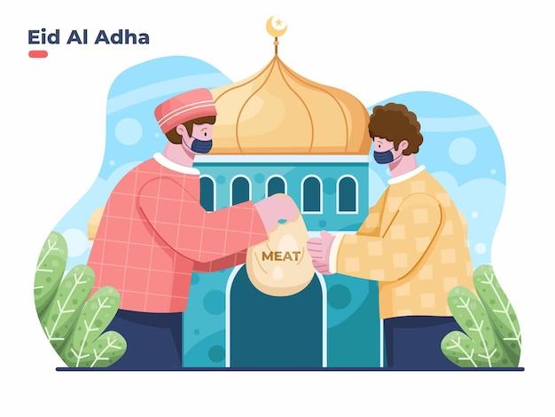 Ilustracja eid al adha z muzułmaninem dającym jałmużnę zawierającą mięso ofiarne