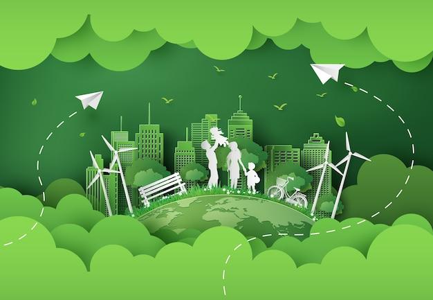 Ilustracja eko i światowego dnia środowiska z szczęśliwą rodziną. styl sztuki papieru.