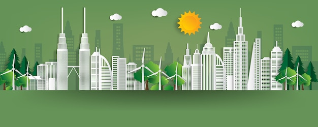 Ilustracja. ekologiczna koncepcja, zielone miasto uratować świat