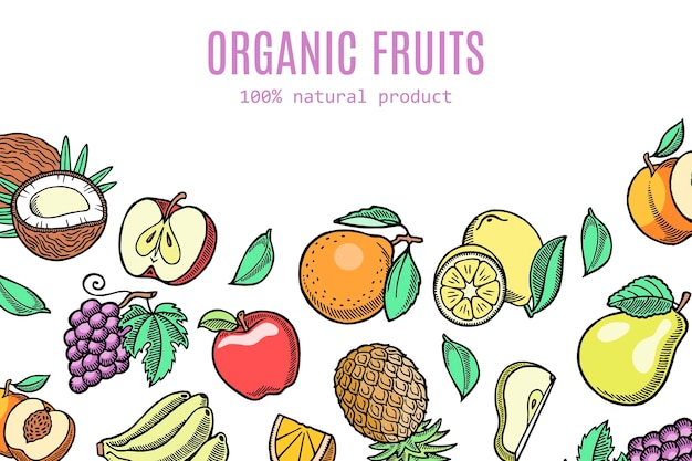 Ilustracja ekologiczne owoce ekologiczne.