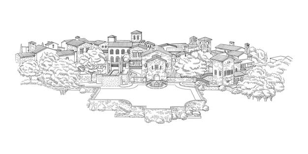 Ilustracja eleganckiego domu zamkowego
