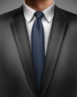 Ilustracja elegancko ubrany mężczyzna w czarnym garniturze i niebieskim krawacie na białym tle