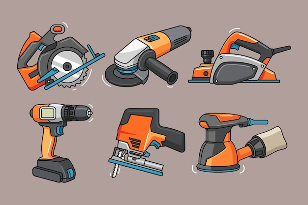 Ilustracja elektronarzędzi z ręcznie rysowane stylu