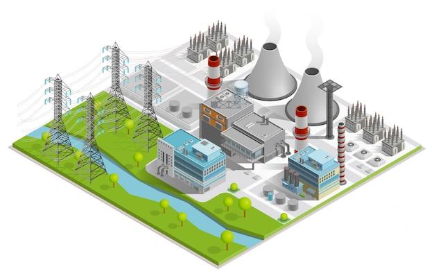 Ilustracja elektrowni cieplnej
