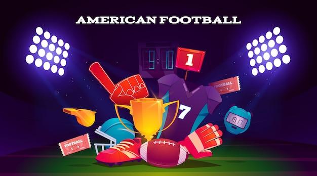 Ilustracja elementów futbolu amerykańskiego
