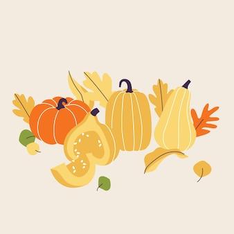 Ilustracja elementów sezonu jesiennego. suszone liście leśne, dynie, jagody kompozycja dekoracyjna.