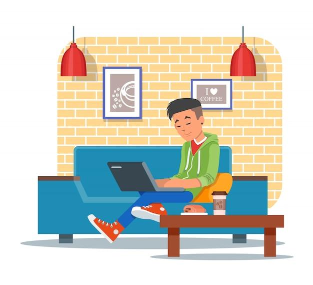 Ilustracja elementu projektu kawiarni, gość z laptopem