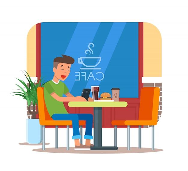 Ilustracja elementu projektu kawiarni z gościem, obiad