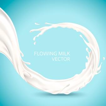 Ilustracja elementu przepływającego mleka