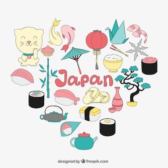 Ilustracja elementy japońskie